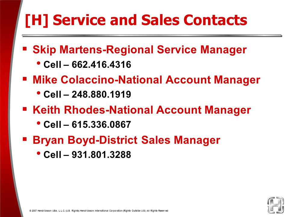 [H] Service and Sales Contacts